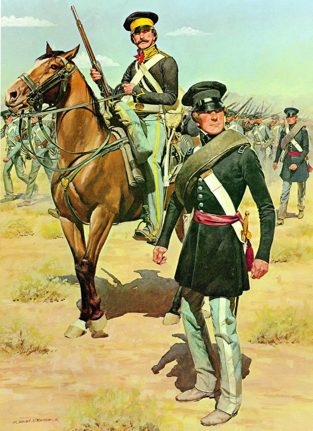 A painting of the U.S. Cavalry and infantry in the 1840s during the Mexican-American War. Artist: H. Charles McBarron, Jr