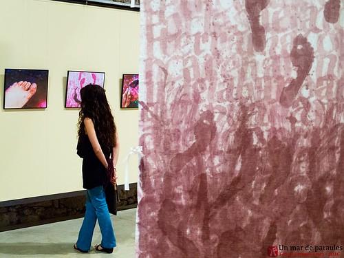 Un mar de paraules, obra de Ferran Cerdans Serra. Tela cal·ligrafiada amb vi i Fotografies de l'autor.