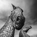 fine art black & white - the majestic Kelpies, horse heads towering under a dark moody Scottish sky, Falkirk, Scotland, UK