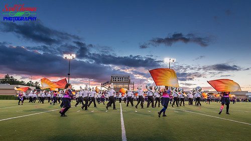 nysphsaa camillus classaa football highschool mikemesserefield newyork sectioniii sports varsity westgenesee wildcats unitedstatesofamerica 840 marchingband flags colorguard field sky clouds lights nikond750 nikonafs1635mmf4gedvr uwa wideangle dusk