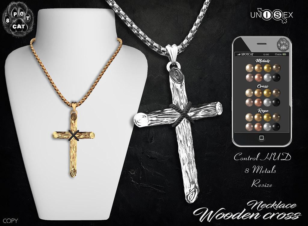 … SpotCat … Necklace – Wooden cross