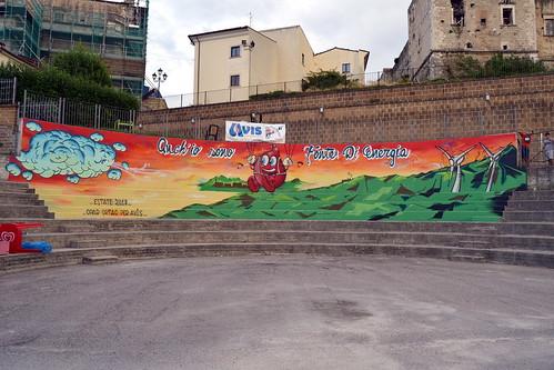 """""""LO DICO CON UN MURALES"""", iniziativa dell'Avis Provinciale di Pescara nel Comune di Tocco da Casauria per sensibilizzare alla donazione del sangue - 12 agosto 2018"""