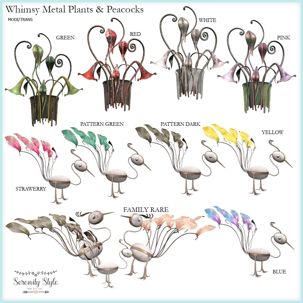 Serenity Style-Whimy Metal Plants & Peacocks