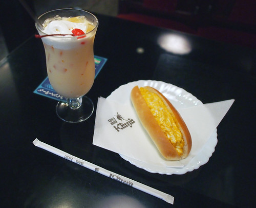 コーヒーハウスケニア花園店ミルクセーキと卵サンド