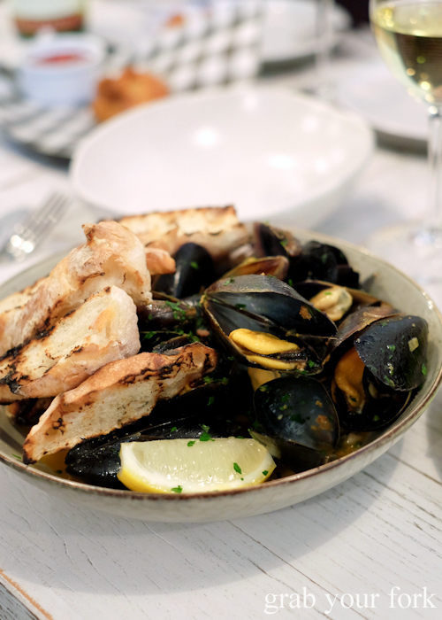 Mussels with sobrasada butter at Fich seafood restaurant in Petersham Sydney