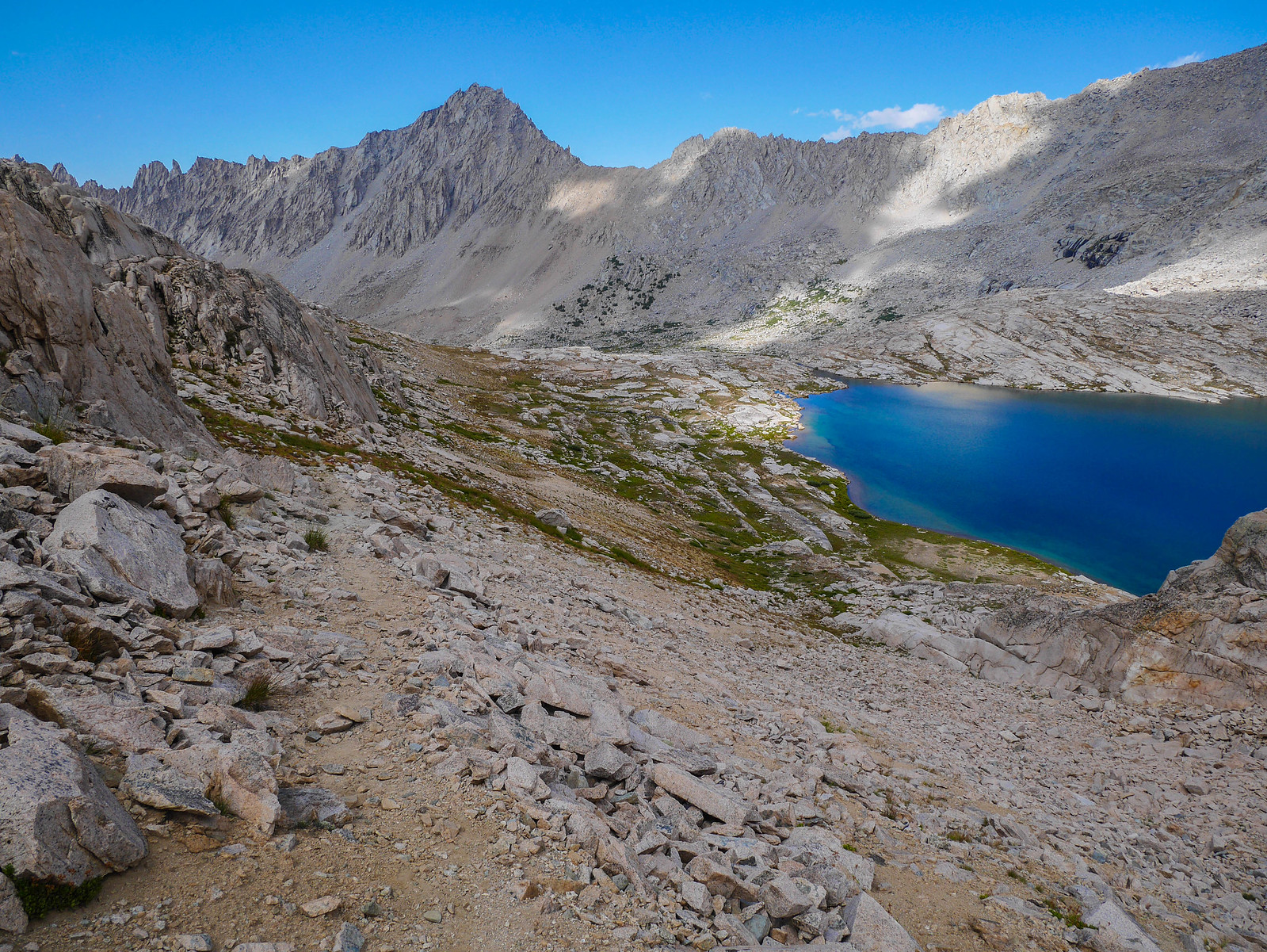 Looking back on Lake 11,773 from the use trail up to Junction Pass