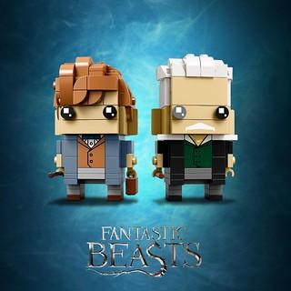兩位角色的還原度都好高呀~~ LEGO 41631 BrickHeadz 系列【紐特·斯卡曼德 & 蓋瑞·葛林戴華德】Newt Scamander & Gellert Grindelwald