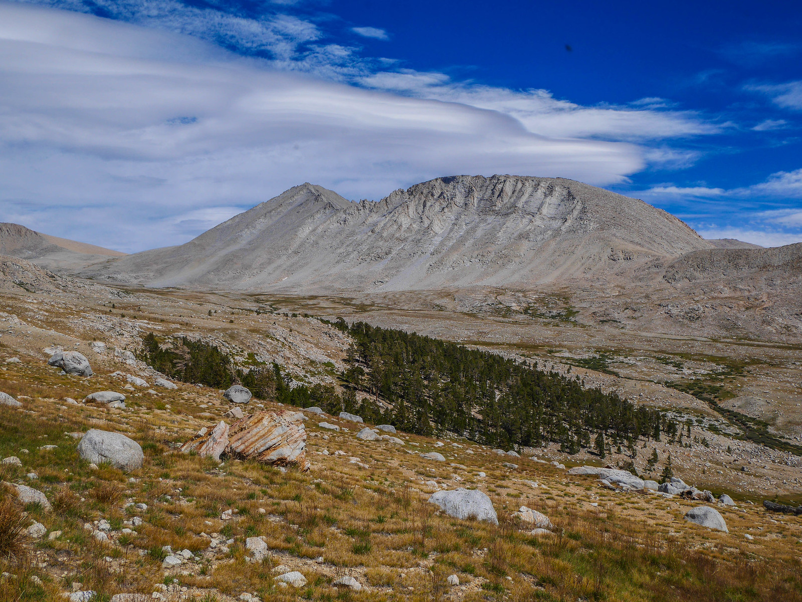 Upper Tyndall Creek and Rockwell Pass from the JMT