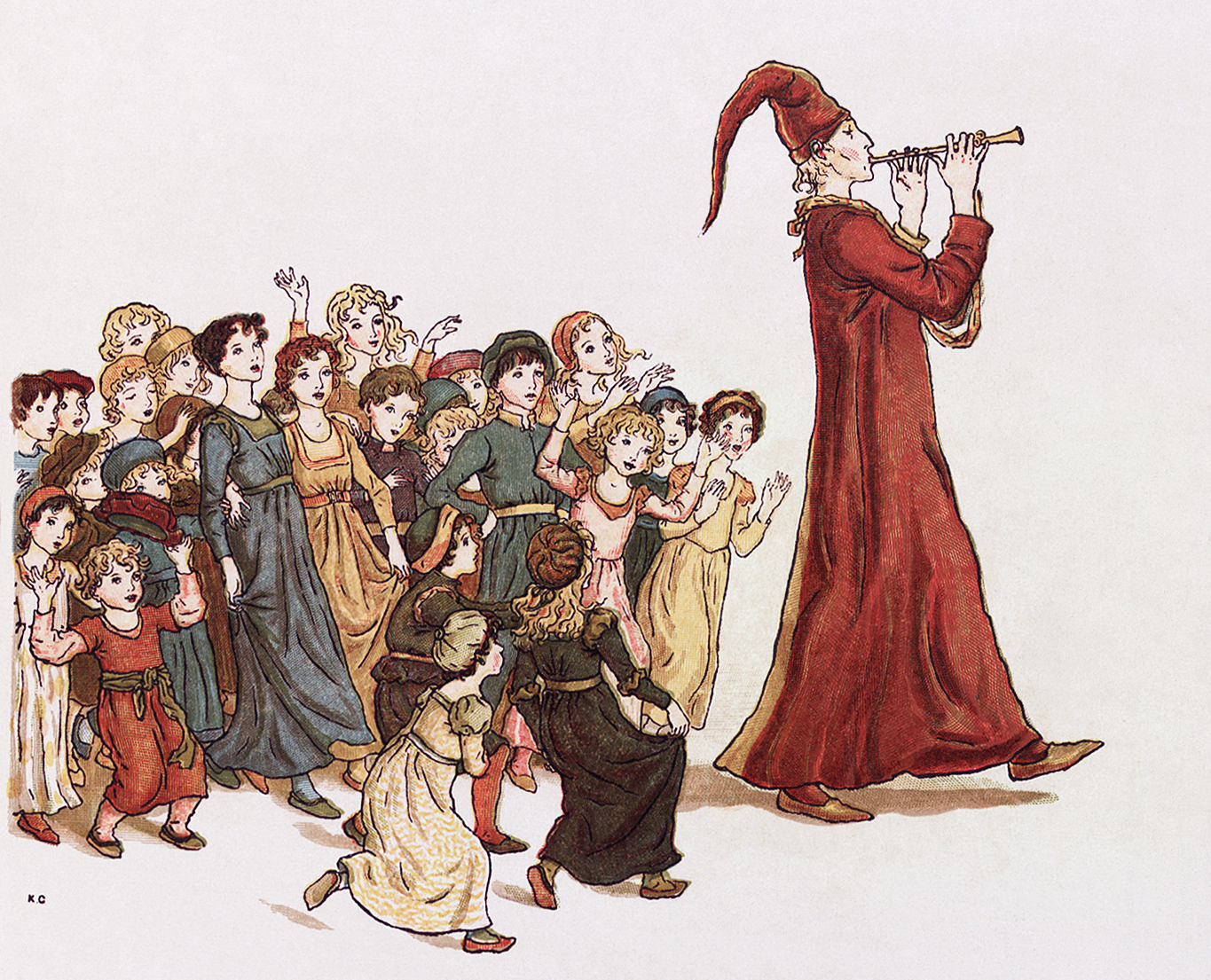 The Pied Piper leads the children out of Hamelin. Illustration by Kate Greenaway for Robert Browning's
