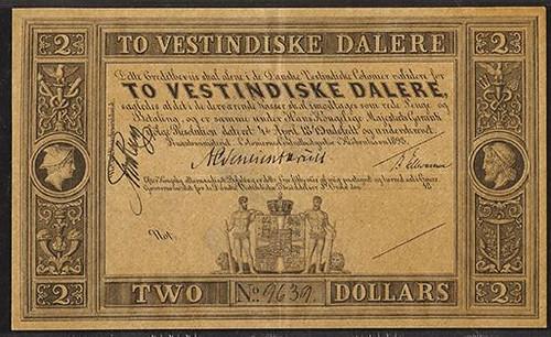 1898 Danish West Indies, 2 Dalere Banknote