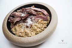Secreto ibérico a la plancha acompañado de arroz cremoso