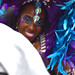 DSC_8475 Notting Hill Caribbean Carnival London Exotic Colourful Purple and Blue Costume with Ostrich Feather Headdress Girls Dancing Showgirl Performers Aug 27 2018 Stunning Lady Charming Smile