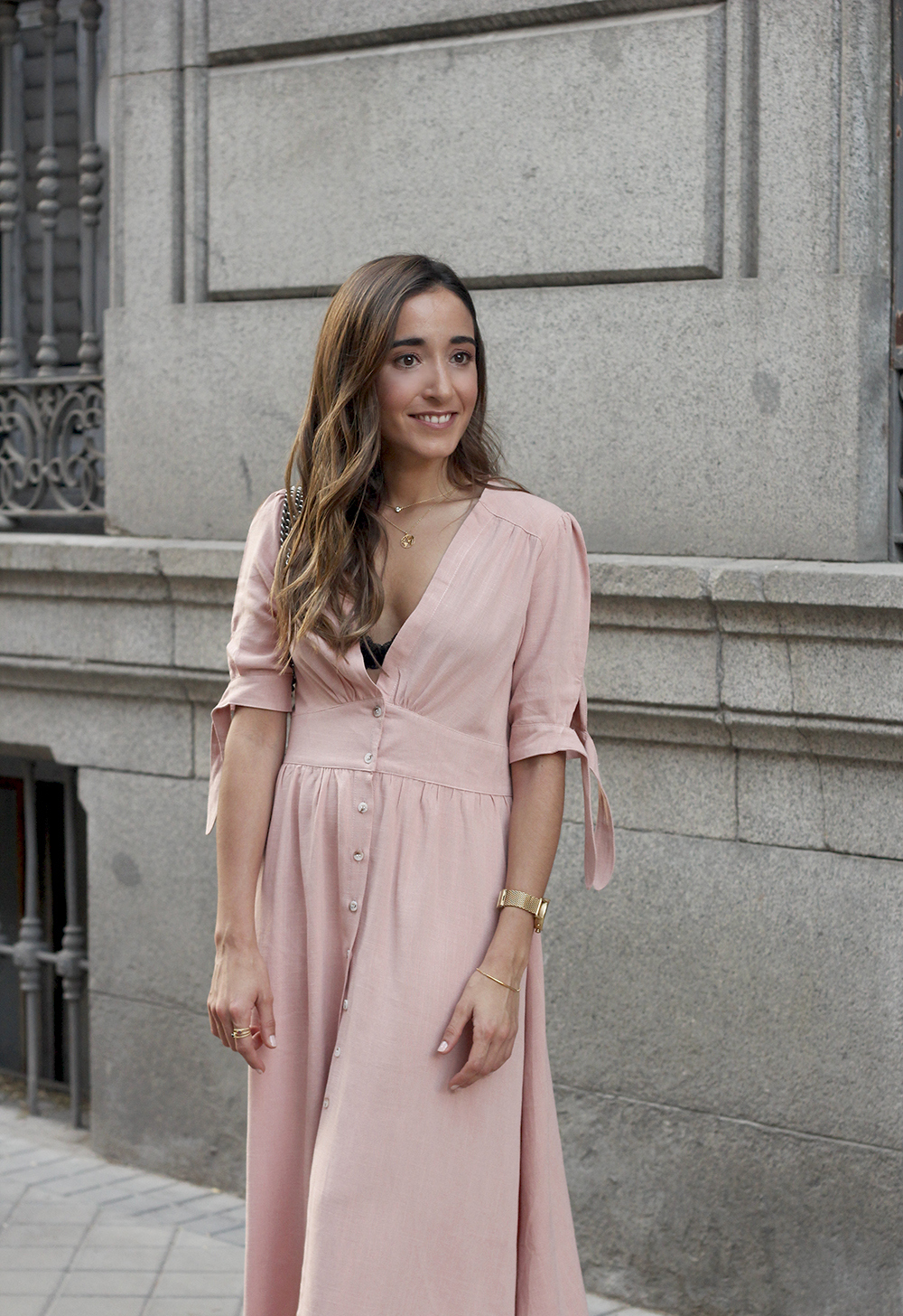 pink midi dress mules gucci bag outfit street style 201813