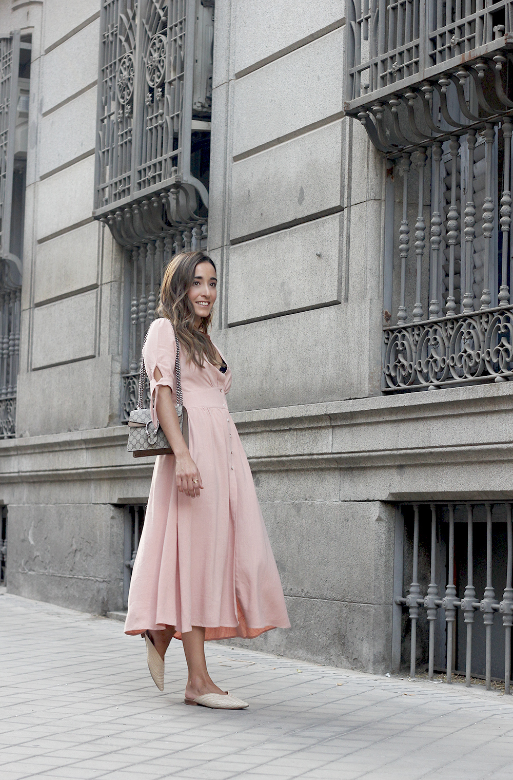 pink midi dress mules gucci bag outfit street style 201801