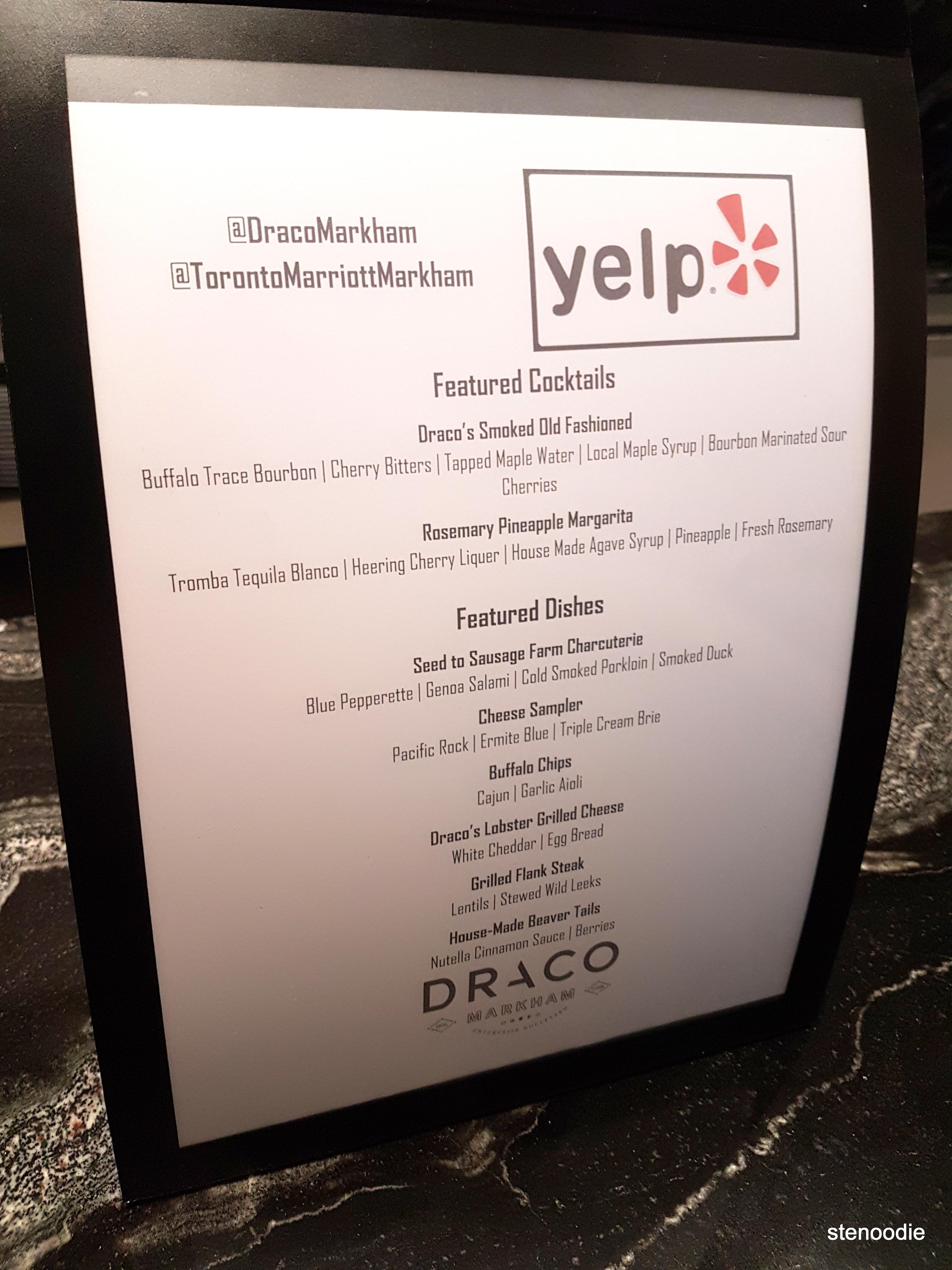 Draco Yelp menu