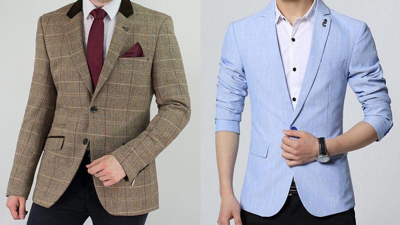Jaket Blazer Pria bahan tweed (kiri) dan bahan linen (kanan).