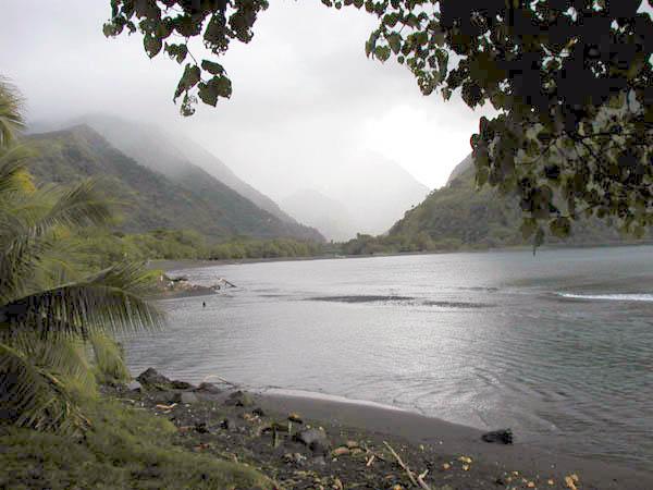 Tautira beach in Tahiti. Photo taken in October 2003.