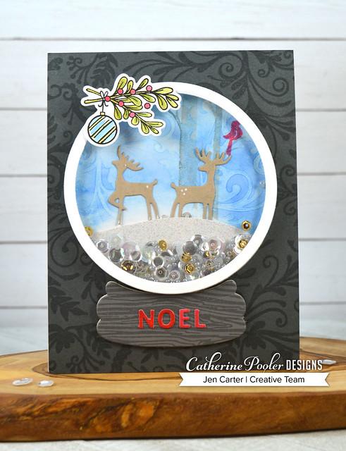 Jen Carter Snow Globe Flourishes Woodgrain Holiday Charms