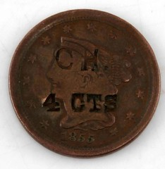 1855 Half Cent Obverse Counterstamped CH 4CNTS