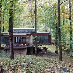 Postcards from swing-district canvassing, part 7: a #midcenturymodern glass house cantilevered over Dead Run in Langley, VA-10. Not on my list, though.