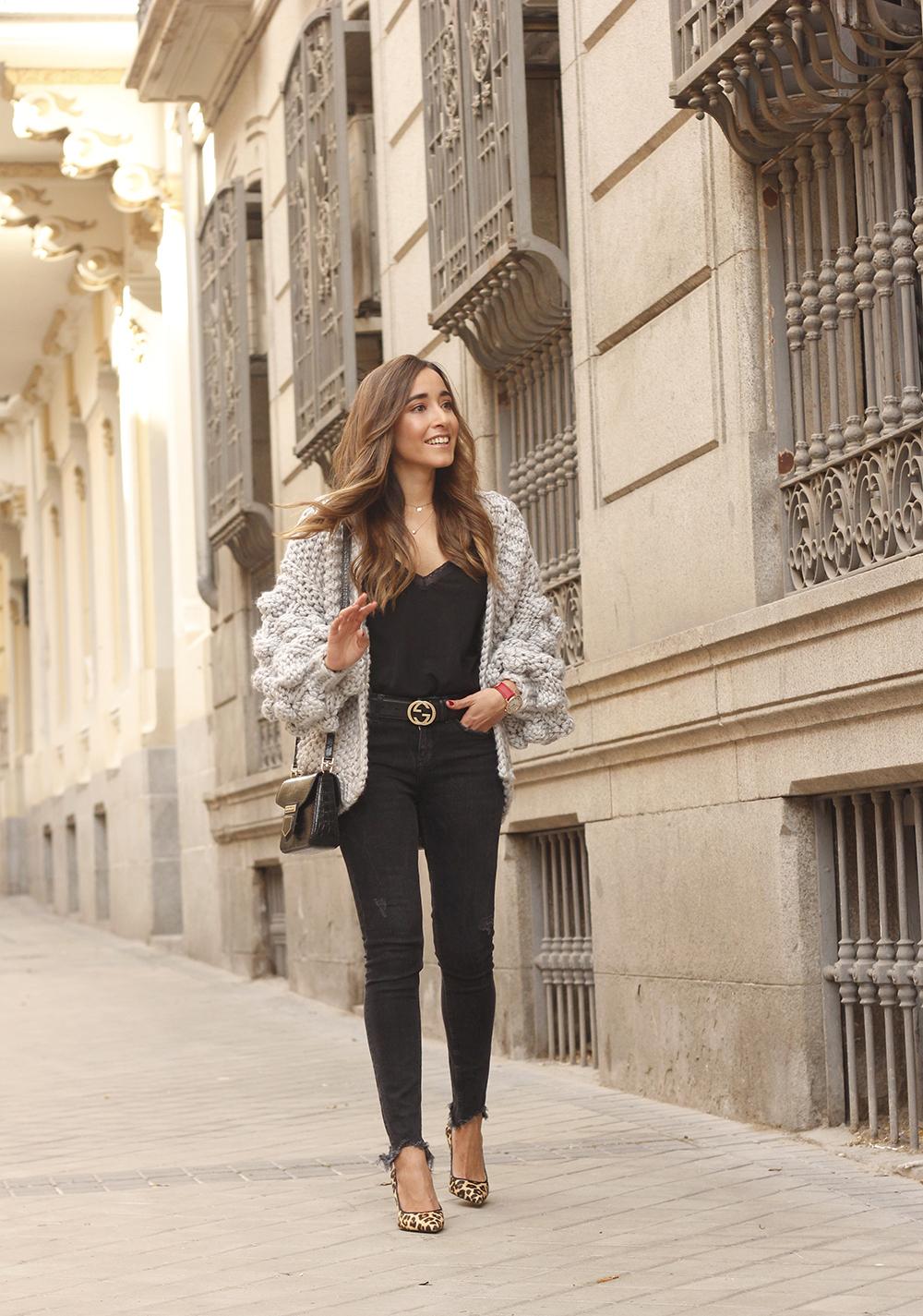Grey cardigan black jeans folli folie watch leopard print heels starbucks tea street style fall outfit 201804