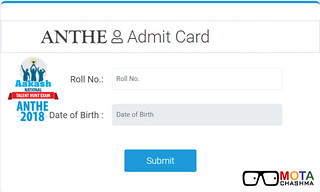 Download ANTHE Admit Card 2018