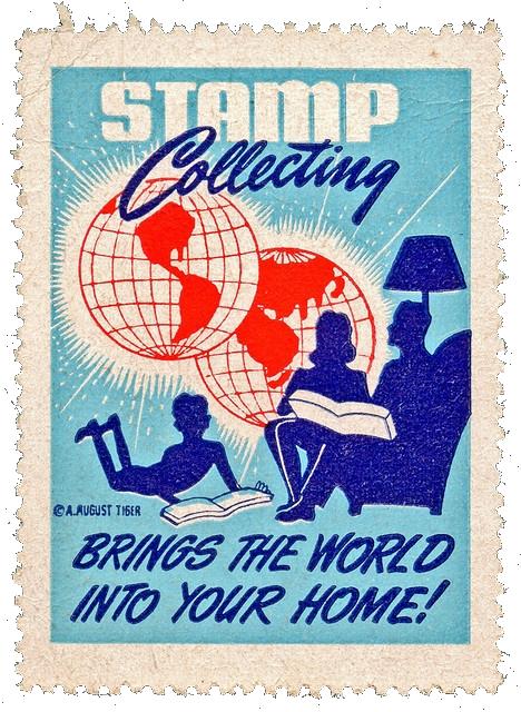 Cinderella (poster) stamp promoting stamp collecting.
