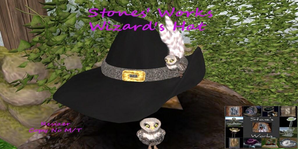 WIZARD'S HAT BLACK OWL Stone's Works - TeleportHub.com Live!