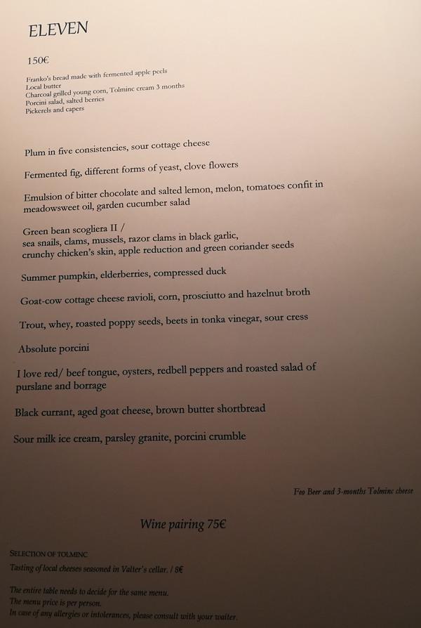 Sloveniëreis: culinair eten bij Hiša Franko kaart