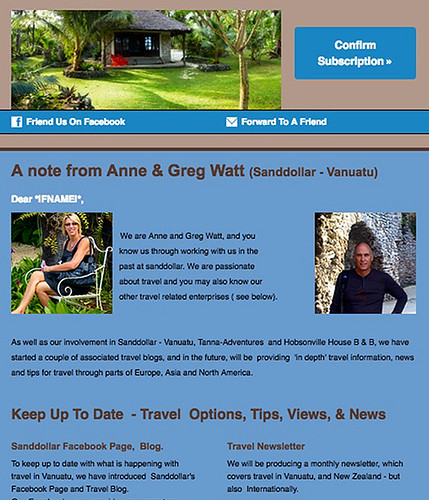 The introductory Travel and Tourism Newsletter from watt.nz introducing the involvement of Anne and Greg Watt in Authentic travel