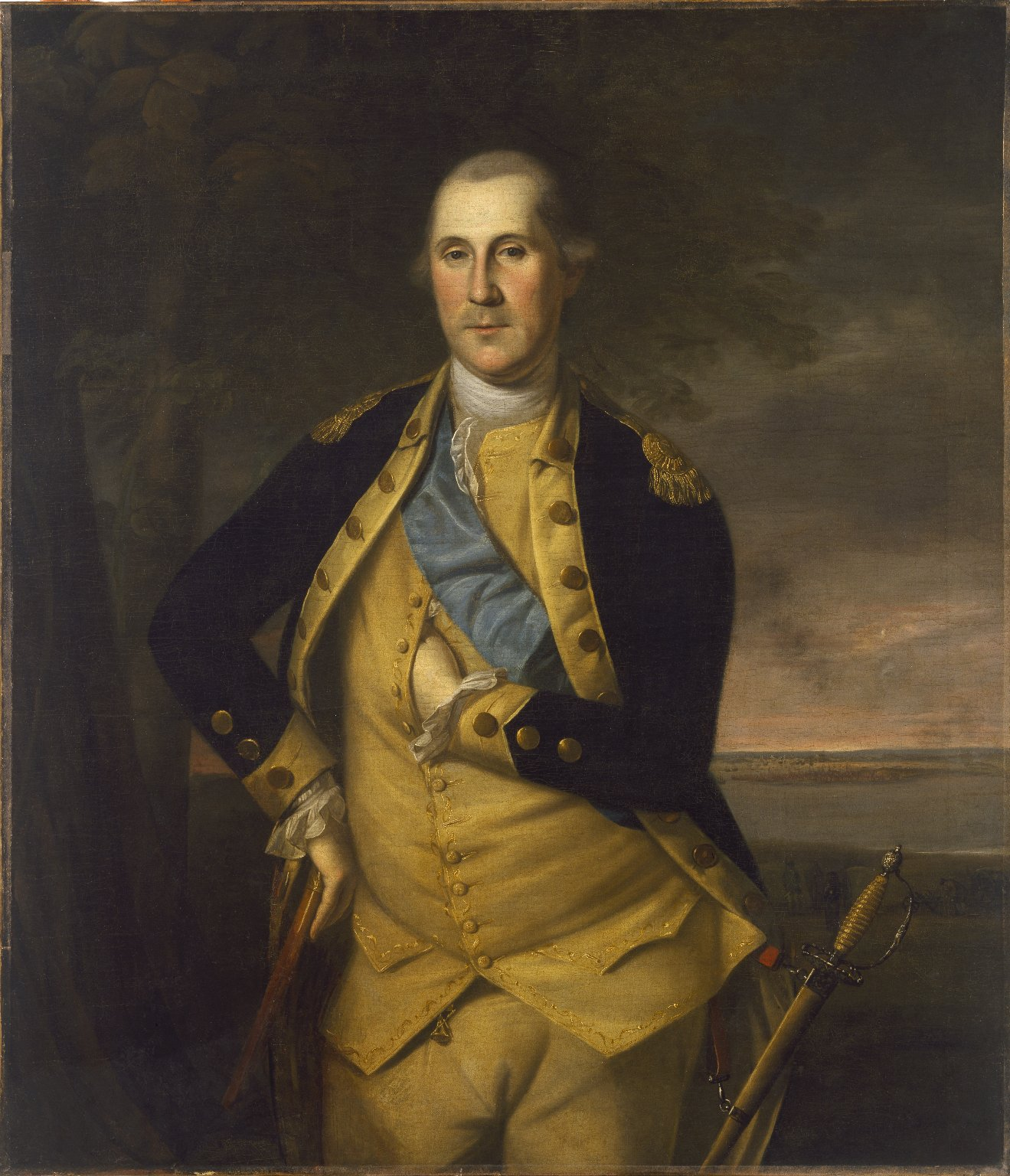 Oil on canvas painting of George Washington by Charles Willson Peale. White House copy of the original 1776 painting.
