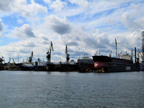 ships in Gdansk Shipyard on the Motława River
