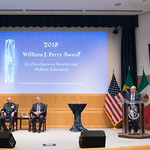 Ju, 09/20/2018 - 14:28 - On Thursday, September 20, 2018, the William J. Perry Center for Hemispheric Defense Studies honored General Salvador Cienfuegos Zepeda, Secretary of National Defense of Mexico, and Escola Superior de Guerra (ESG), National War College of Brazil, with the 2018 William J. Perry Award for Excellence in Security and Defense Education. Named after the Center's founder, former U.S. Secretary of Defense Dr. William J. Perry, the Perry Award is presented annually to individuals who and institutions that have made significant contributions in the fields of security and defense education. From the many nominations received, awardees are selected for achievements in promoting education, research, and knowledge-sharing in defense and security issues in the Western Hemisphere. Awardees' contributions to their respective fields further democratic security and defense in the Americas and, in so doing, embody the highest ideals of the Center and the values embodied by the Perry Award.