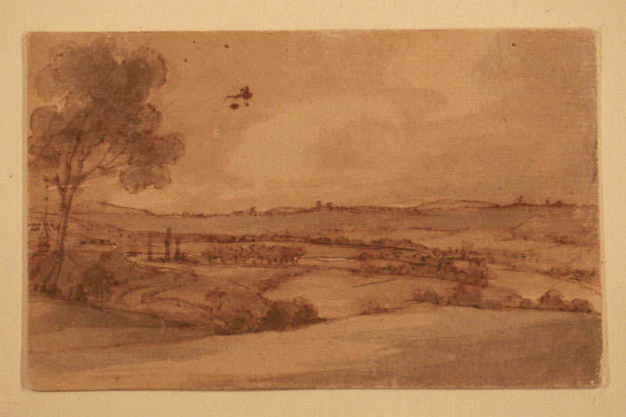 A landscape sketch, ink, sepia wash on cardboard, of the scene at Saratoga, New York that was the site of General John Burgoyne's surrender in 1777. This sketch was made in 1791 in anticipation of Trumbull's painting Surrender of General Burgoyne in the 1820s.