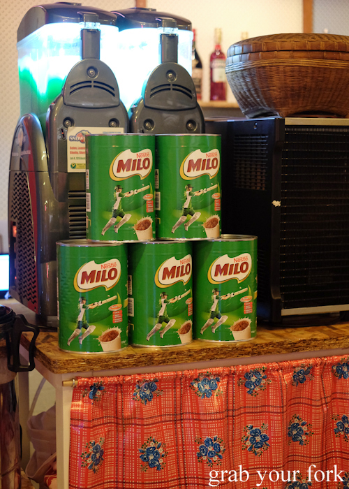 Tins of Milo at Kingdom of Rice in Mascot Sydney