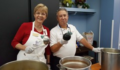 Rep. Zawistowski and Rich Maglieri serving dinner at Community Cuisine