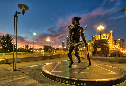 hdr nikon nikond5300 pennsylvania pittsburgh robertoclemente robertoclementebridge baseball bridge city cityscape clouds downtown geotagged lights longexposure morning sky statue sunrise urban