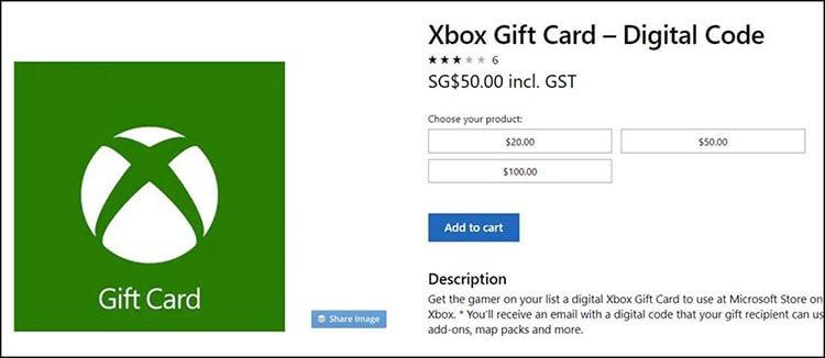 Kartu Hadiah Xbox