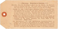 Garrard Super Gramophone Oiling Instructions labela