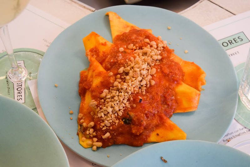Schiaffoni con Burratta with Tomato Sauce and Pine Nuts at Lina Stores, Soho