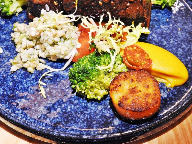 Chinese Sichuan / Szechuan Fried Potato, Broccoli, Buckwheat Pesto, Baked Cherry Tomato, Pumpkin Puree