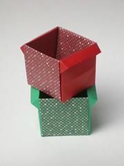 Cubic masu with handles