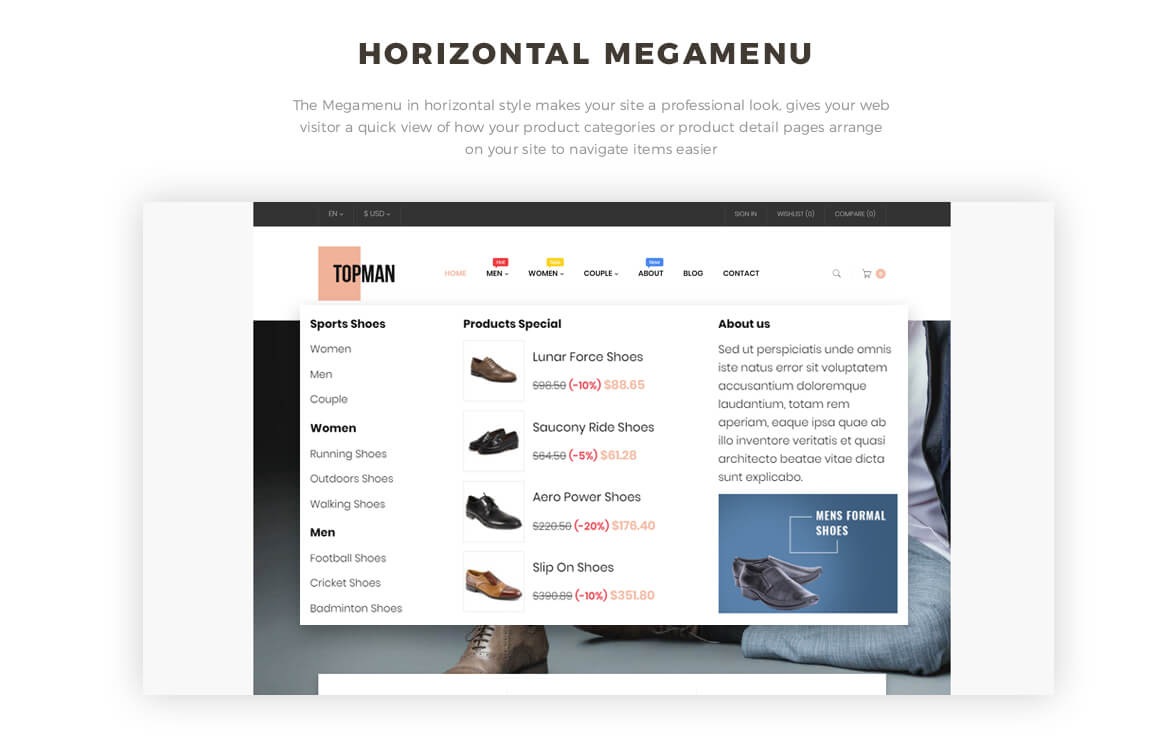 horizontal mege menu -Leo Topman - Men Shoes and Fashion Prestashop 1.7 theme