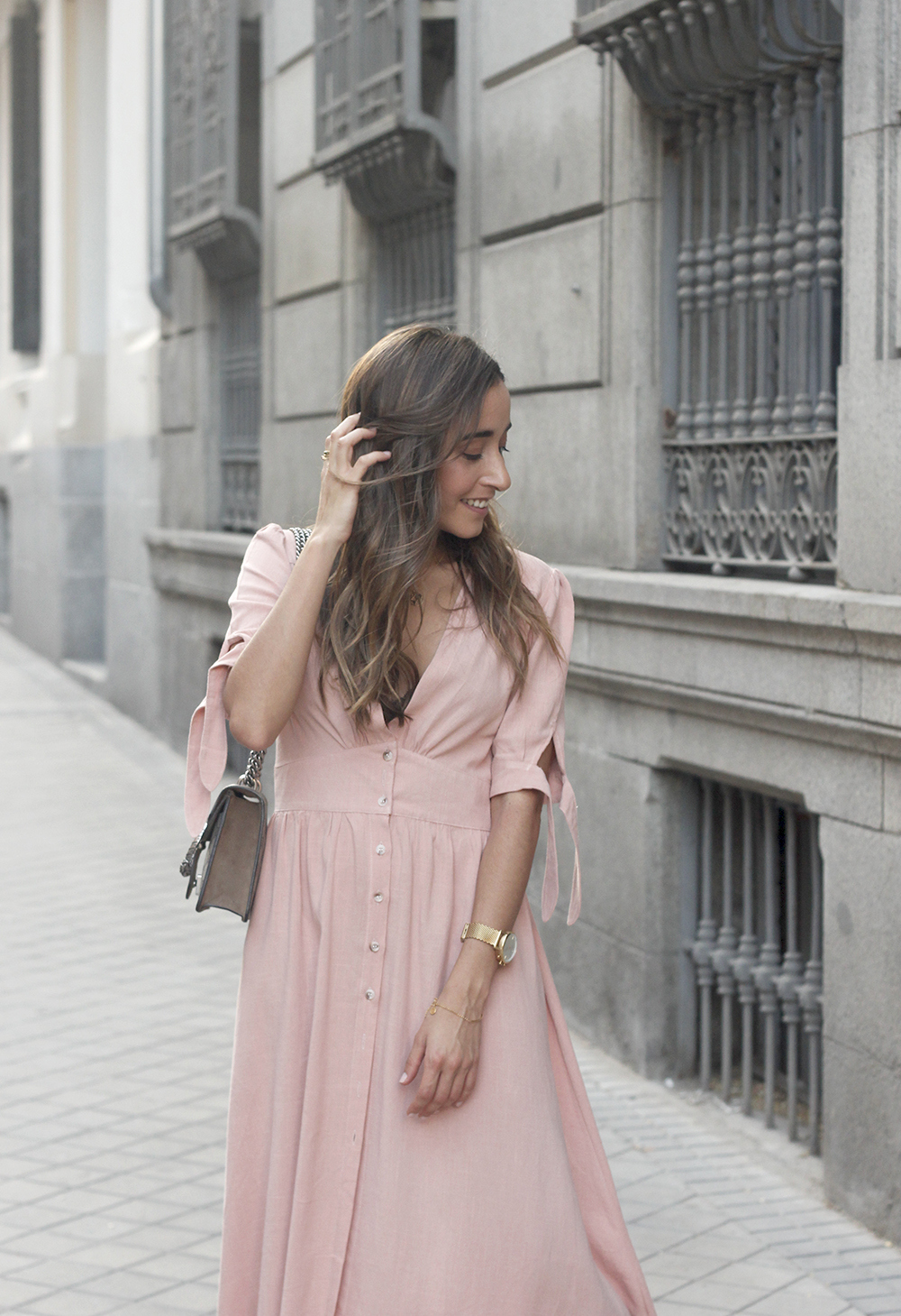 pink midi dress mules gucci bag outfit street style 201815