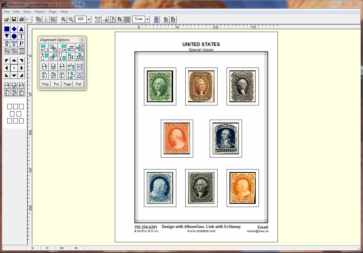 Using computer software to create stamp album pages
