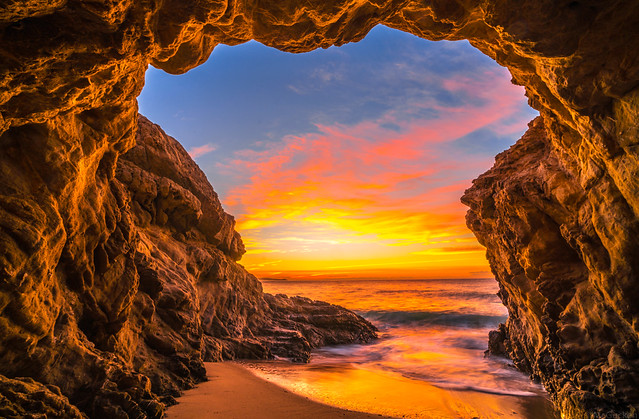 Epic High Resolution Malibu Landscape Seascape Sunset! Malibu Sea Cave Sunset California Socal Photography! Fine Art Landscape & Nature Photography: Light Beams & Dr. Elliot McGucken Epic Fine Art! Stormy Skies! Red & Orange Ocean Beach Sunset!