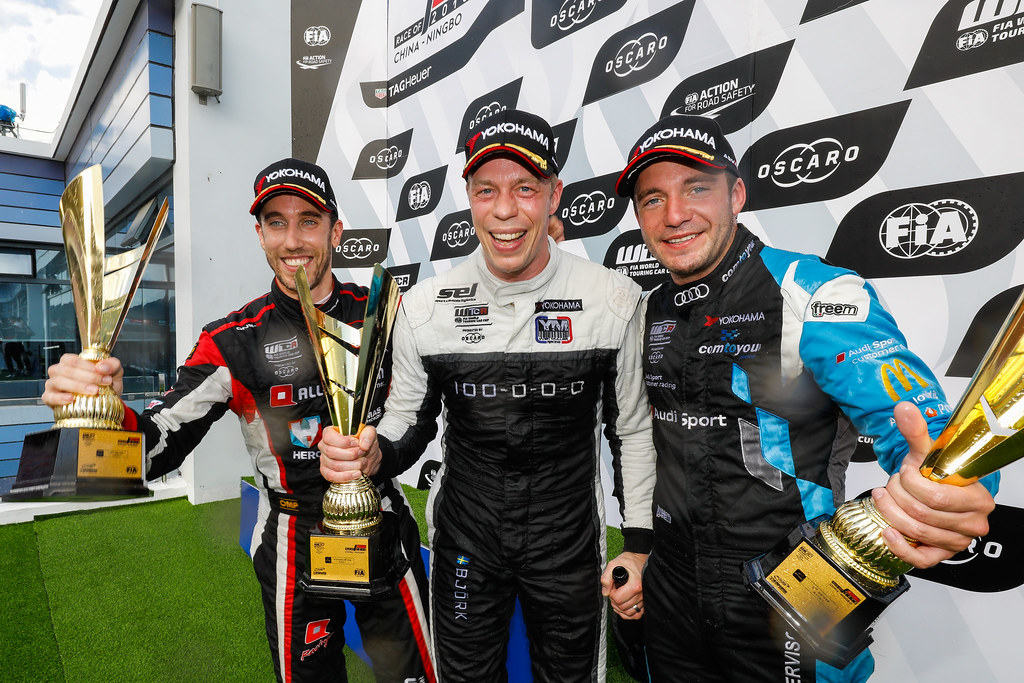 Podium course 1, 11 BJORK Thed, (swe), Hyundai i30 N TCR team Yvan Muller Racing, 22 VERVISCH Frederic, (bel), Audi RS3 LMS TCR team Comtoyou Racing, 86 GUERRIERI Esteban, (arg), Honda Civic TCR team ALL-INKL.COM Munnich Motorsport, Portrait  during the 2018 FIA WTCR World Touring Car cup of China, at Ningbo  from September 28 to 30 - Photo Marc de Mattia / DPPI