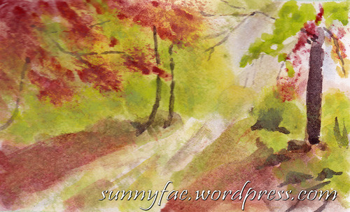 atumn walk watercolour