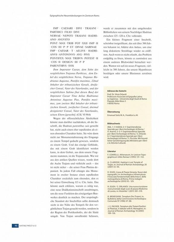 """ROMA ARCHEOLOGICA & RESTAURO ARCHITETTURA: Silvia Orlandi, """"Epigraphische Neuentdeckungen Im Zentrum Roms: Neue Erkenntnisse Zum Athenäum Des Hadrian Und Zum Trajanstempel [=Iscrizione - Piazza Madonna di Loreto] ."""" Antike Welt, no. 6 (2012): 40-46."""
