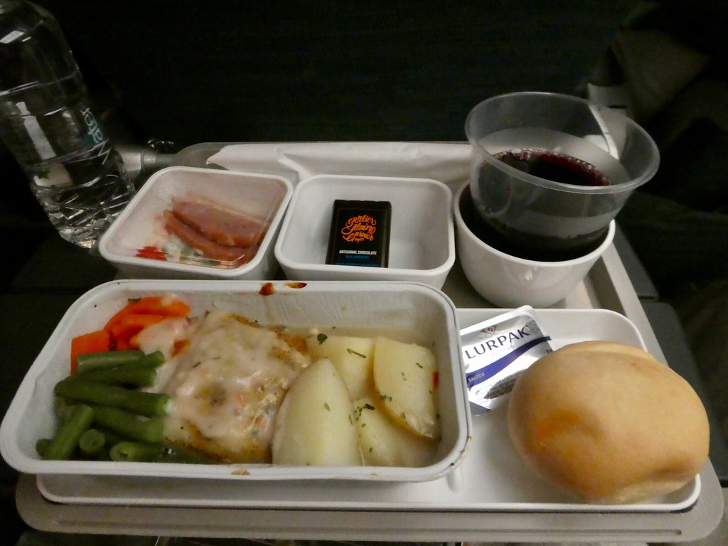 Dinner on board our Cathay Pacific flight from Hong Kong to Manchester